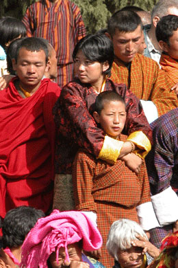 Spectators at Jambay Lhakhang festival in Bhutan