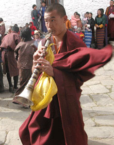 Buddhist monk at Prakar festival in Bhutan