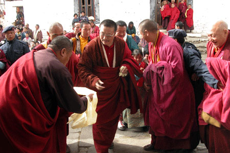 Monks at Prakar festival in Bhutan