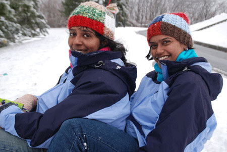 Swetha and Anu on a sled