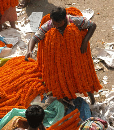 Man selling orange marigold garlands