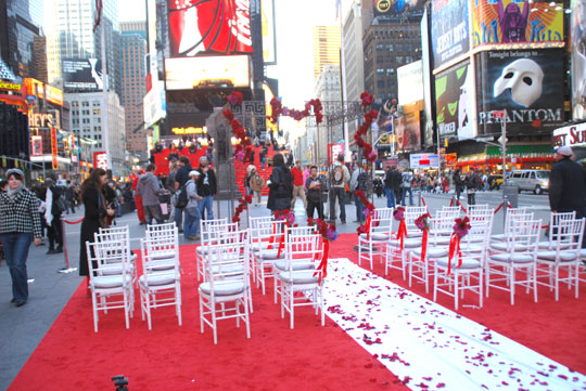 Red Carpet For A Wedding On Times Square Manhattan